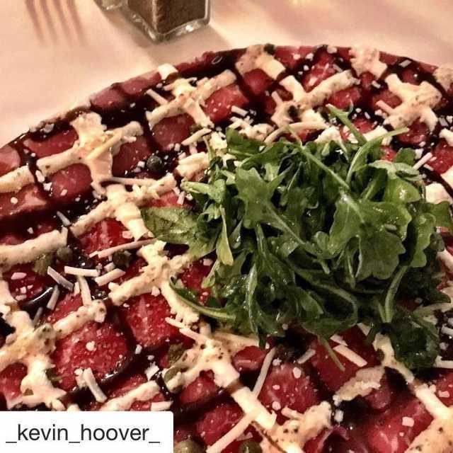 Repost kevinhoover getrepost  Beef carpaccio at newyorkprime food hellip